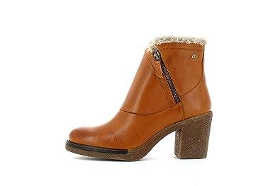 Carmela Botín de Mujer Tacon DE 7 cm con Cierre de Cremallera Abotinado Camel: Amazon.es: Zapatos y complementos