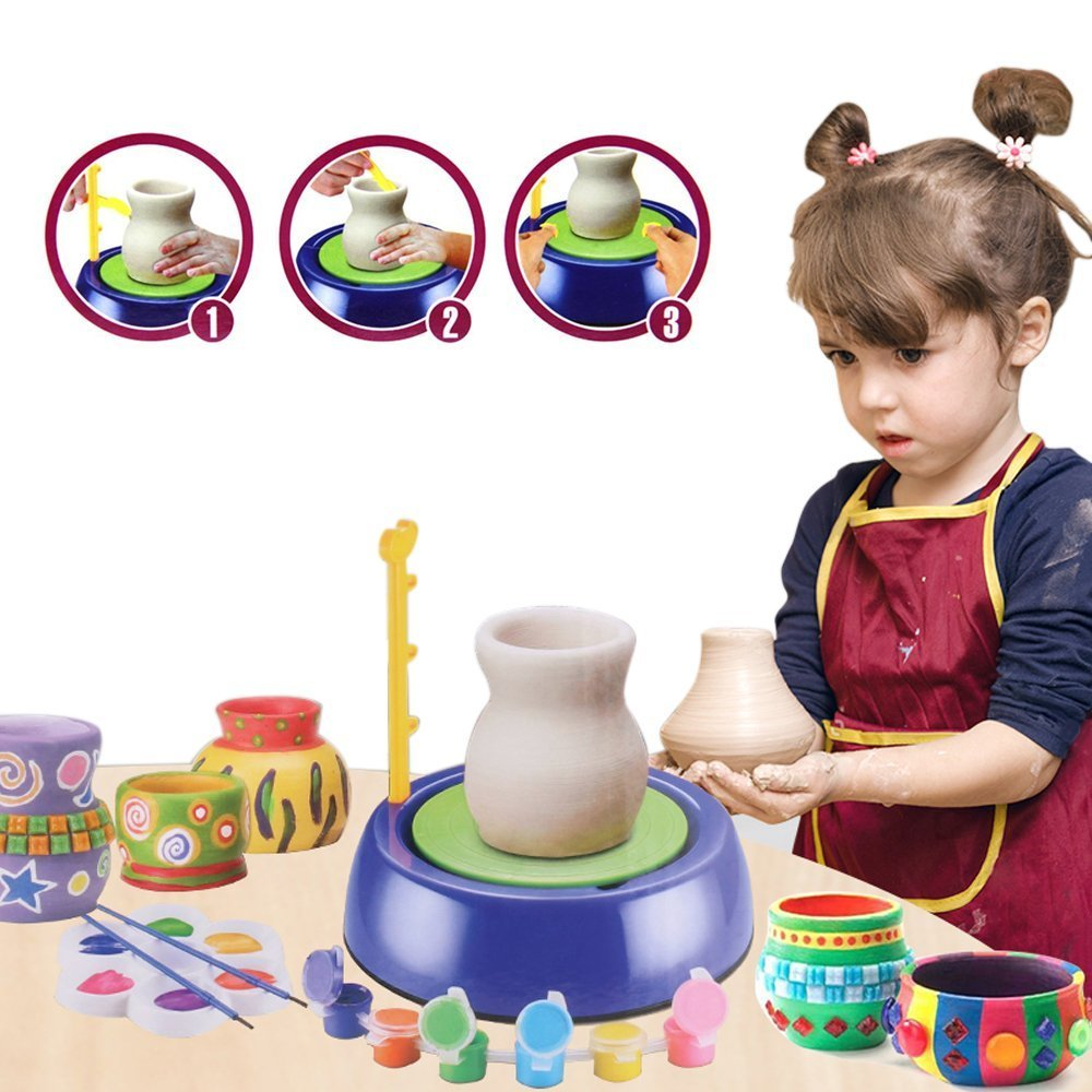 YaeTek Pottery Wheel, Pottery Studio Kit, Educational Toy, DIY Toy with Clay for Kids, Children Beginners for Fun Yaemart Corportation