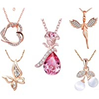Om Jewells Immitation Rose Gold Jewellery Combo of 5 Designer Pendant Necklace Emblished with Pink and White Crystal Elements for Girls and Women CO1000294