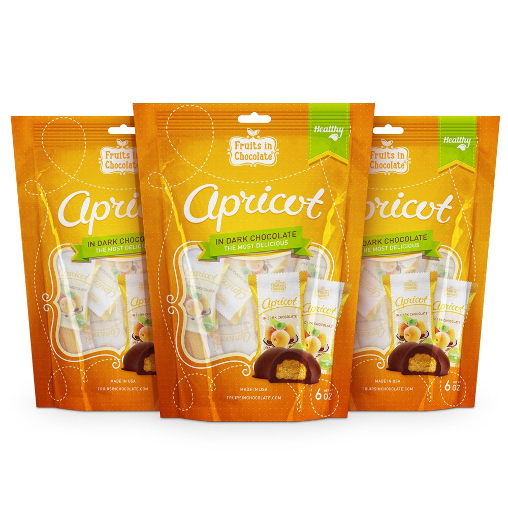 Dark Chocolate Covered Apricots, 6 Oz Bag (Pack of 3) by Fruits in Chocolate