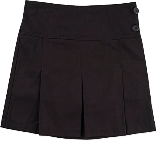 George Girls' School Uniform - Pleated Scooter Skirt w/ Side Buttons (6, Black)