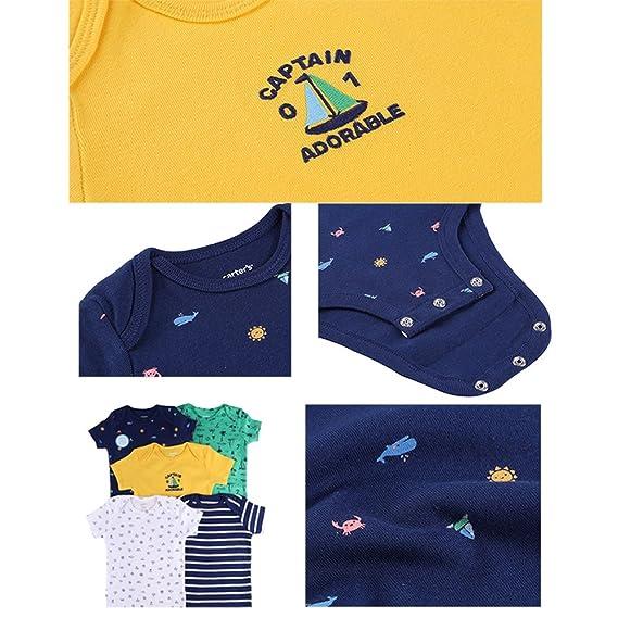 Ocamo Romper - Chaleco de algodón de Manga Corta para bebé, diseño de Dinosaurio y Marino, 5 Unidades, Marine Series, 9M: Amazon.es: Hogar