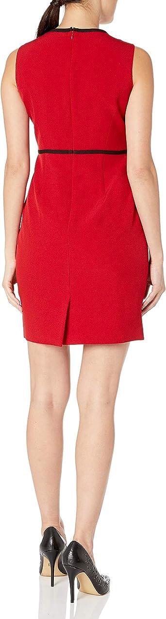 Kasper Damska Sleeveless Jewel Neck Sheath Dress with Piping Detail Kleid: Odzież