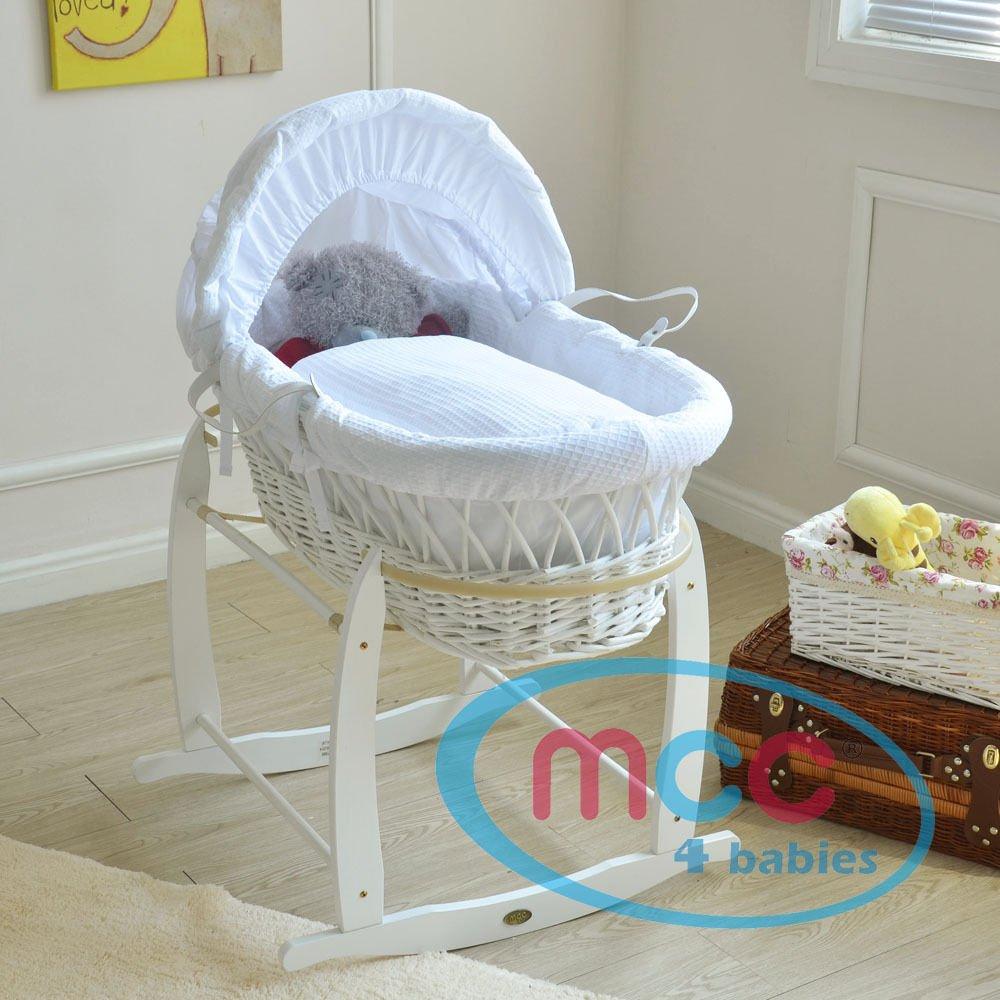 Komplettset Moses Korb Baby Korb Stubenwagen mit Matratze Mcc/® Weiden Wiege Bezug und Schaukelgestell WEISS