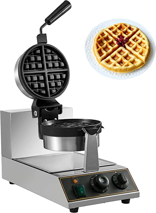 BuoQua Commercial Rotated Round Waffle Maker Nonstick Electric Rotating Egg Waffle Maker Machine Stainless Steel Temperature and Time Control Belgian Waffle Maker: Amazon.co.uk: Kitchen & Home