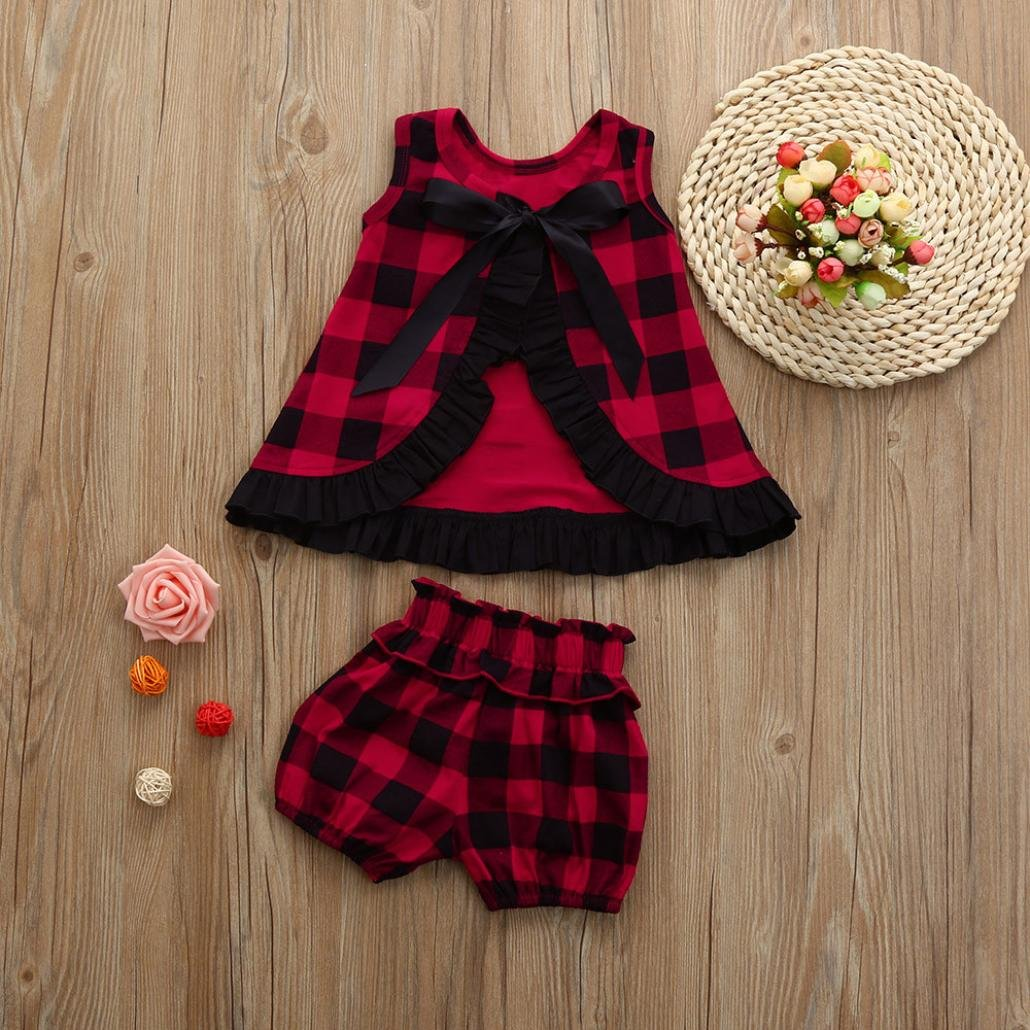 LNGRY Toddler Baby Girl Backless Ruffles T-Shirt Tops+Shorts Plaid Set Outfits