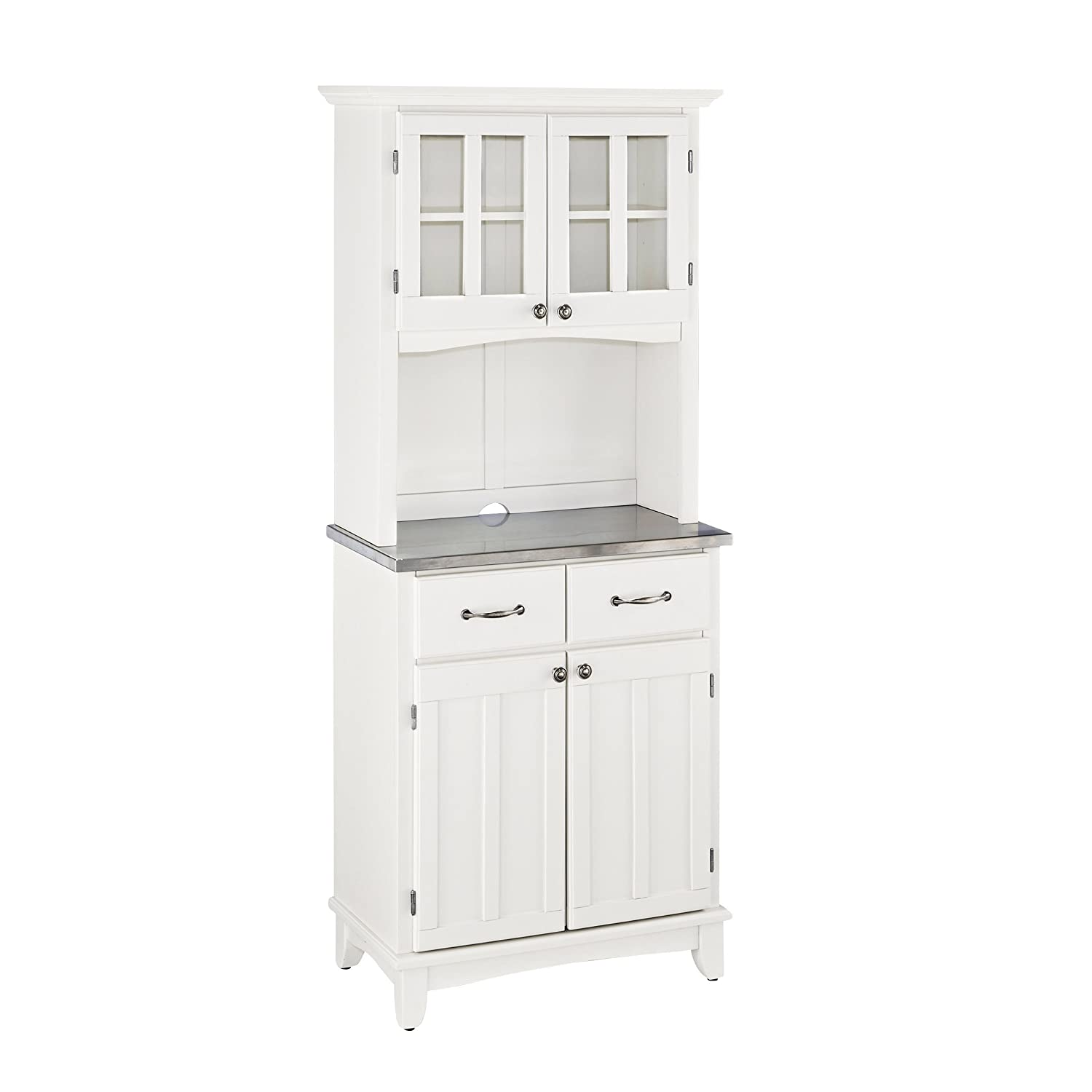 Home Styles 5001-0023-22 Buffet of Buffet 5001 Series Stainless Top Buffet Server and Hutch, White, 29-1/4-Inch