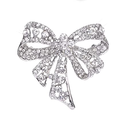 a6afa389d2d Botrong Women Rhinestone Brooch Bow Tie Brooches Scarves Pin Clip Shawl  Buckle gifts