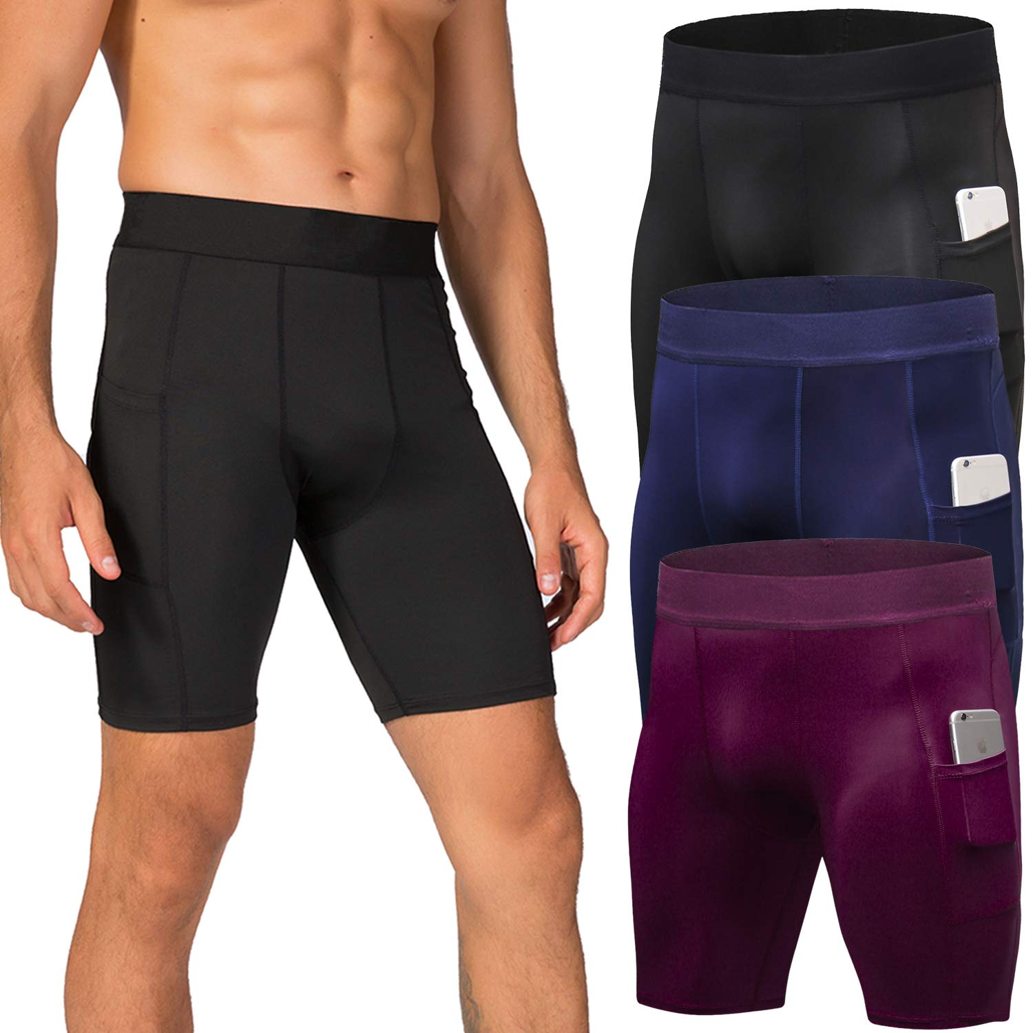 Lavento Men's Compression Shorts Sports Baselayer Cool Dry Tights (3 Pack-3815 Black/Navy Blue/Wine red,Small) by Lavento