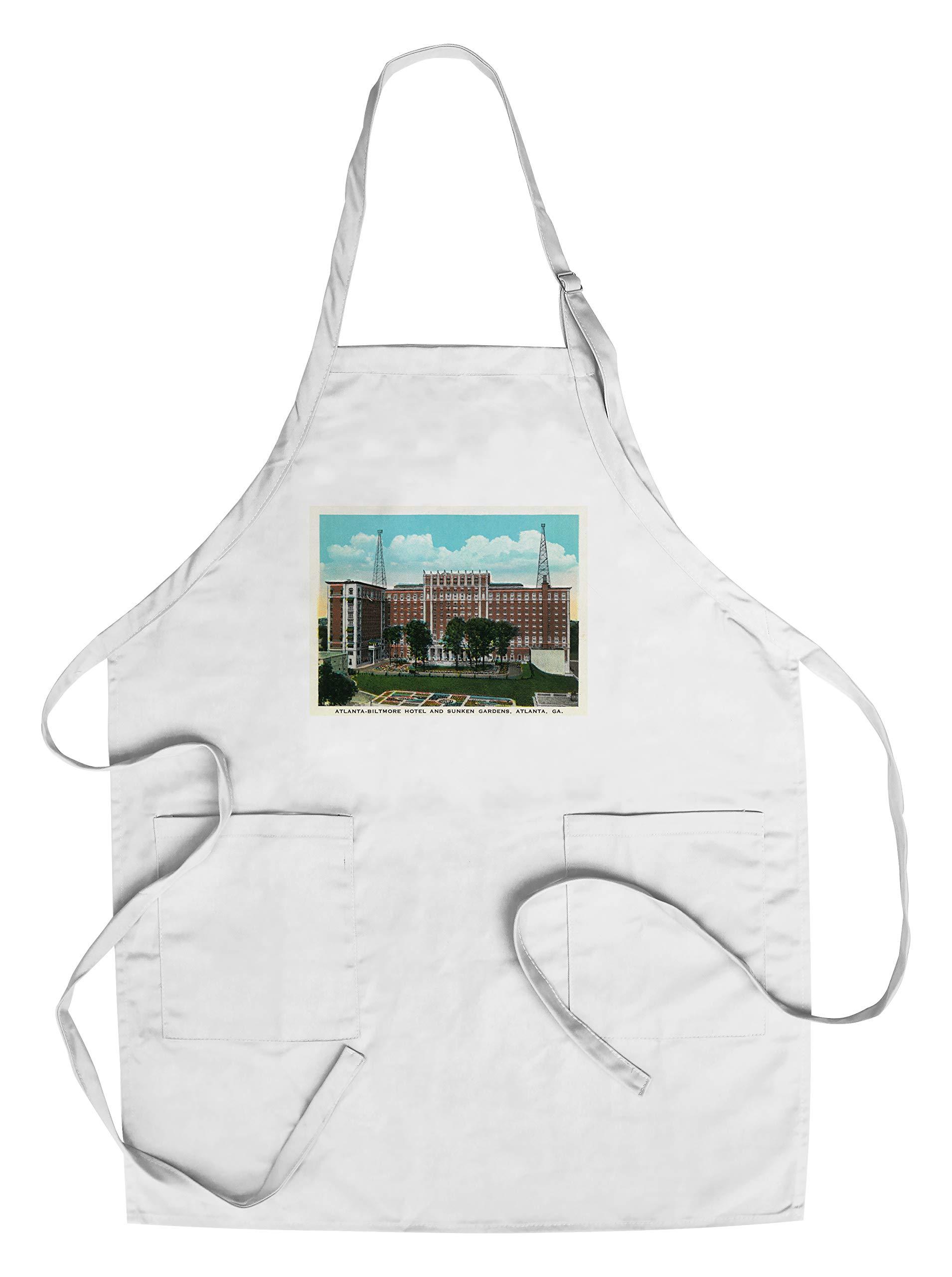 Atlanta, Georgia - Atlanta-Biltmore Hotel Exterior and Sunken Gardens View (Cotton/Polyester Chef's Apron)