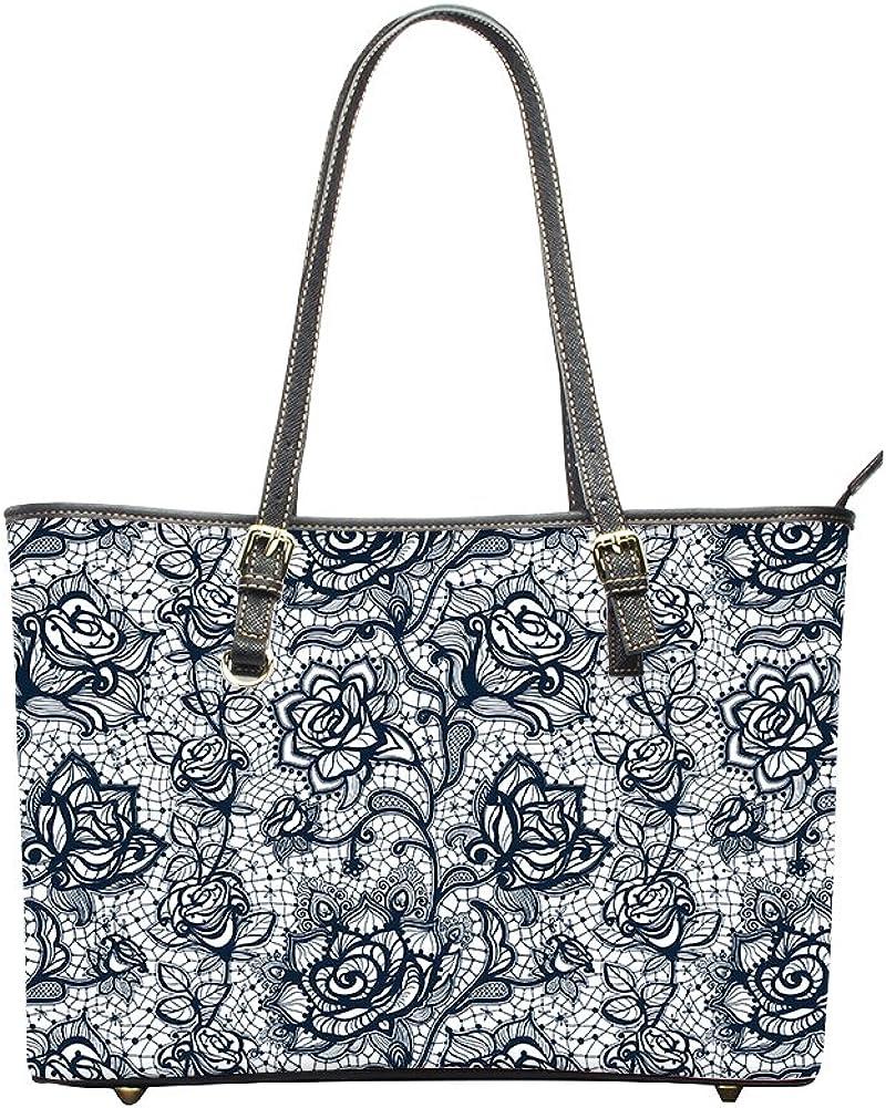 Showudesigns Pretty Beautiful Women PU Leather Handbag with Flower