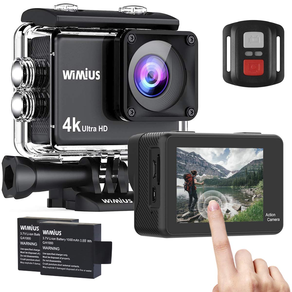 WiMiUS 4K Action Camera 2 Inch Touch Screen 16MP WiFi Sports Camera 30M Underwater Waterproof Camcorder 170 Degree Wide Angle Lens with 2 Rechargeable 1050mAh Batteries and Mounting Accessories by WiMiUS (Image #1)