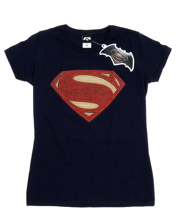 21290bc62 Amazon.com: DC Comics Women's Superman Man of Steel Logo T-Shirt: Clothing