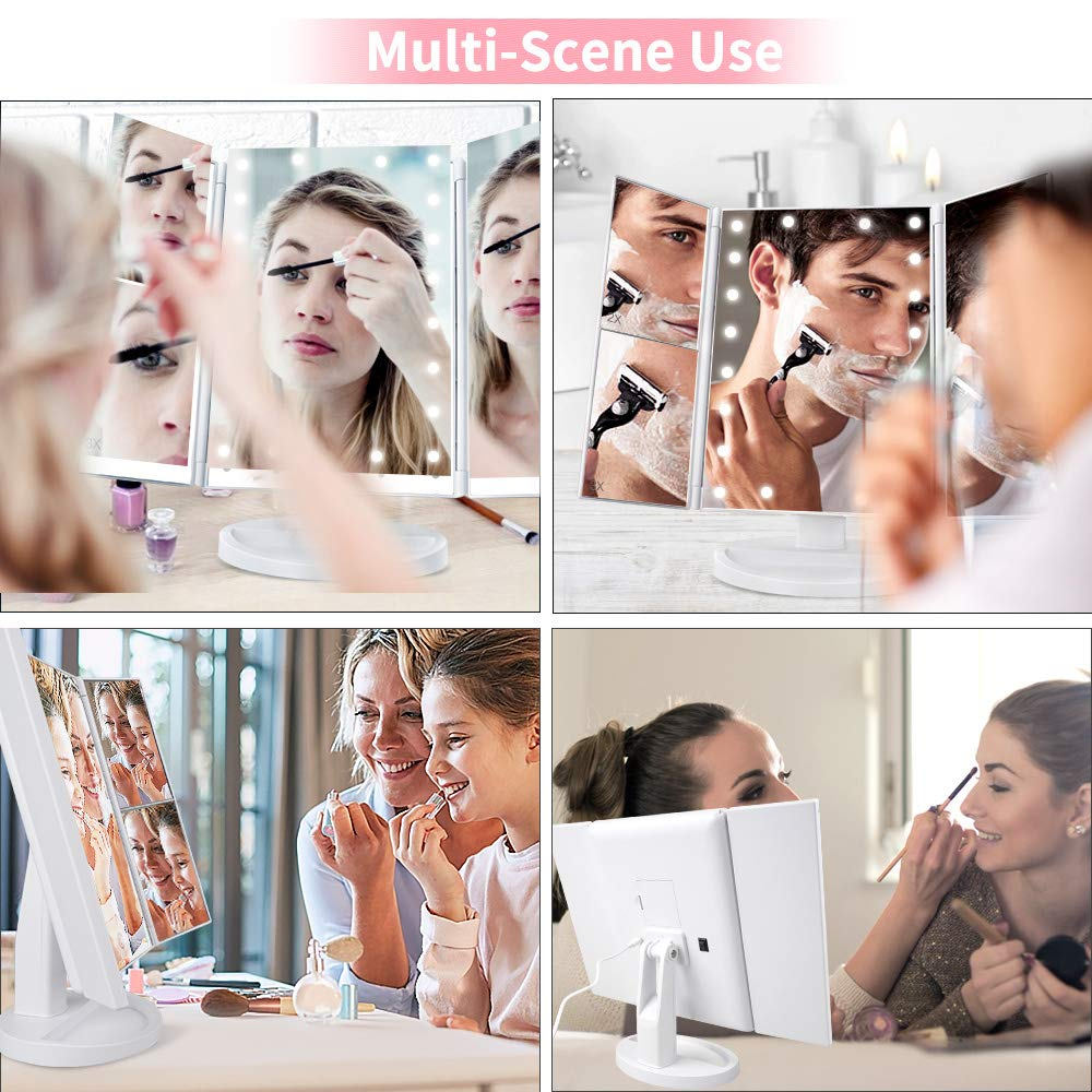 Makeup Mirror with Lights, DIOZO Makeup 21 LED Vanity Mirror, Lighted Up Mirror with Touch Screen Switch, 180 Degree Rotation, Dual Power Supply, Portable White Trifold Mirror by DIOZO (Image #7)