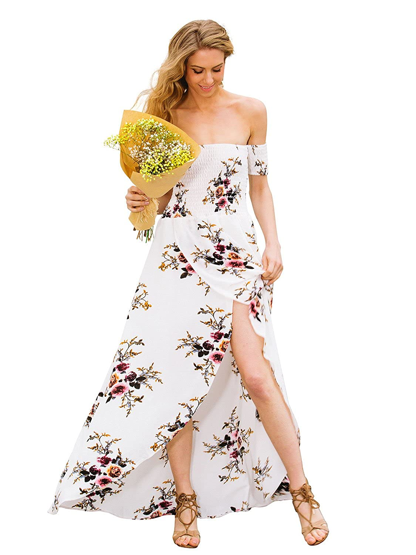 5c4e32a6aeb6 Simplee Apparel Women s Boho Off Shoulder Floral Print Maxi Dress Chiffon  Wrap Summer Dress at Amazon Women s Clothing store