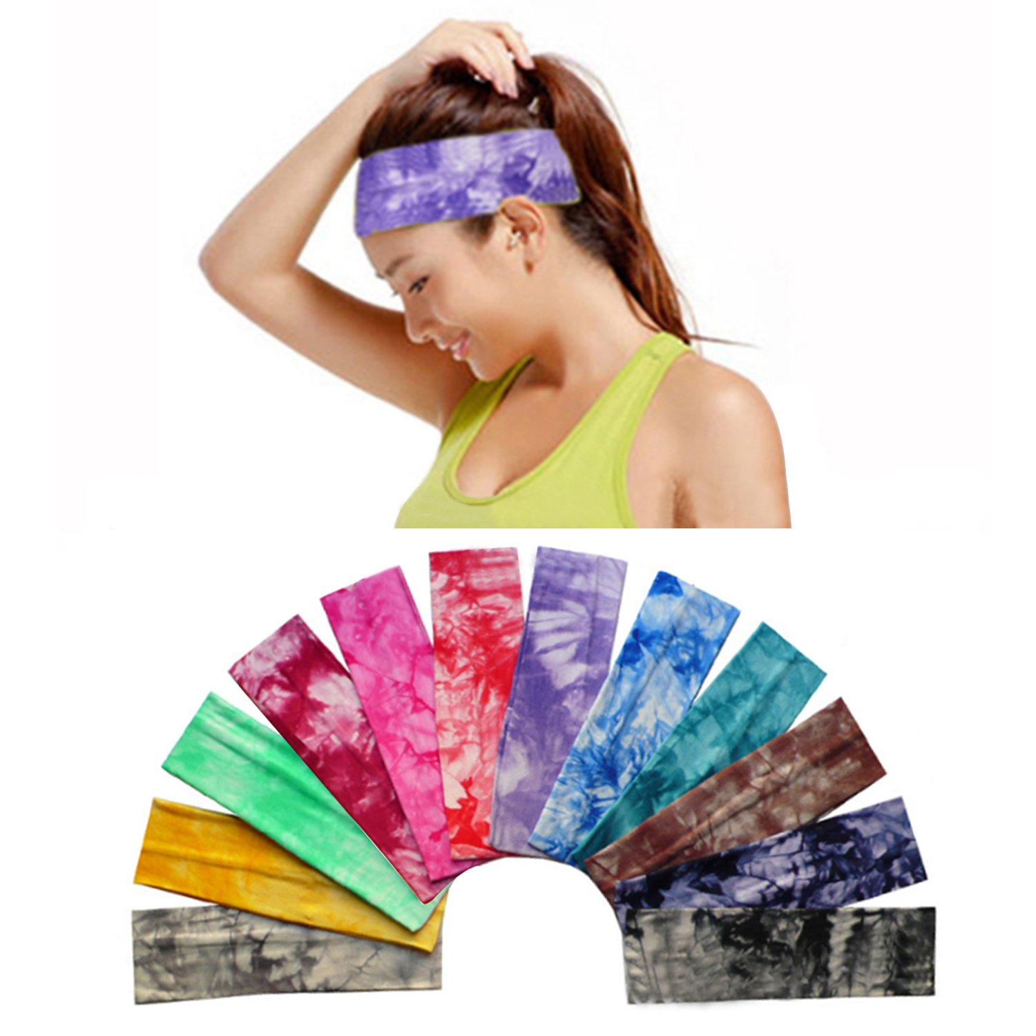 Amazon.com   12 Pack Cotton Headbands by Teemico - Tie Dye Headbands Cotton  Stretch Headbands Elastic Yoga Hairband for Teens Girls Women Exercise  Running ... cc91a75d817