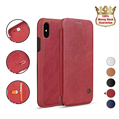 new product 0b2ab 757cf NXET iPhone XS Max Leather Case, G-Case Premium Gulort Luxury Leather Flip  Cover Wallet Card Case for Apple 6.5'' (iPhone XS Max, Red)