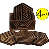 """SUPER SALE - (PACK of 4) PREMIUM QUALITY Coasters - HANDMADE & Wooden 4.3"""" Drink Coaster with Burnt Finish Design - Coaster for Water Glass / Beer Cans / Cocktail / Parties"""