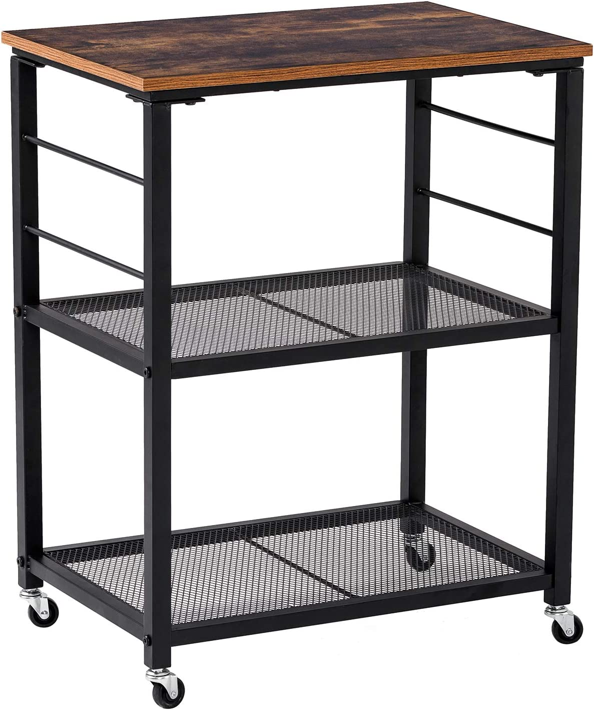Yasmine Industrial Storage Cart, 3-Tier Kitchen Utility Cart on Wheels with Storage for Living Room, Lockable Craft Cabinet Furniture with Metal Frame