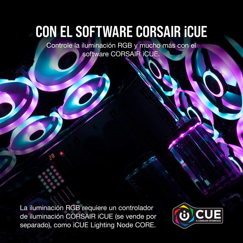 Corsair iCUE QL120 RGB, Ventilador LED RGB de 120 mm , 34 LED RGB Direccionables Individualmente, De Hasta 1500 RPM, Silencioso, Amortiguadores ...