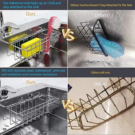 in acciaio inox 304 SUS antiruggine 3 in 1 organizer per lavello da cucina porta spazzola Portaspugna adesiva per strofinacci impermeabile