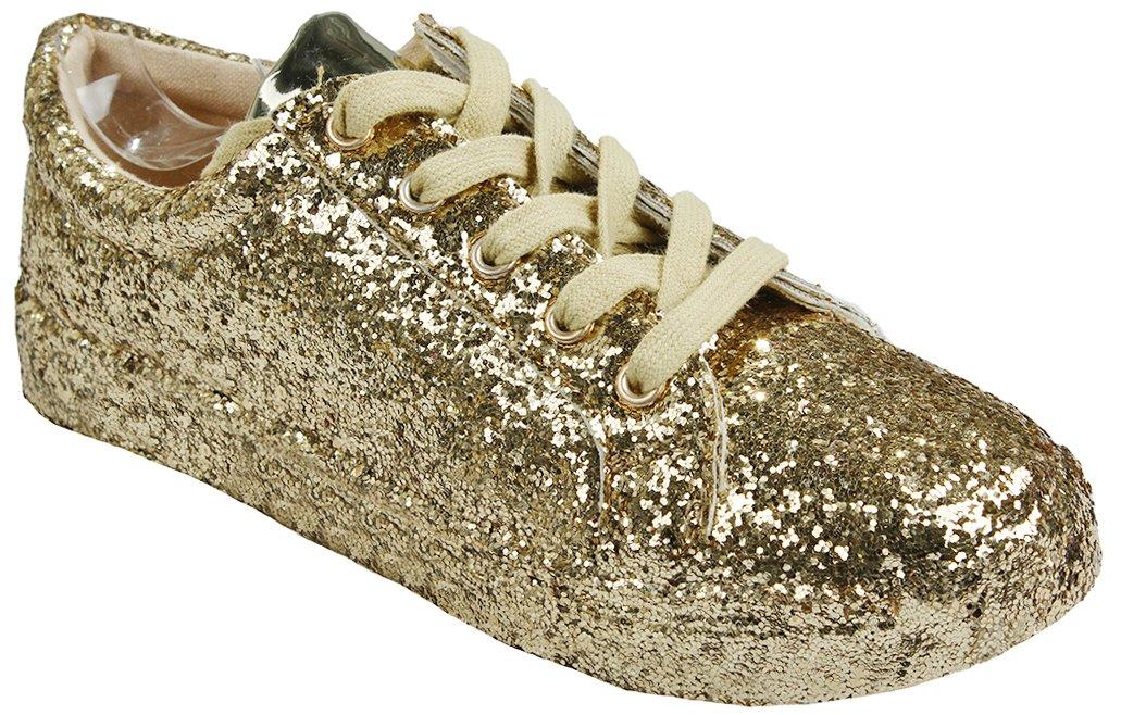 Women Fashion Metallic Sequins Glitter Lace up Light Weight Stylish Sneaker Shoes B076L95JG2 6.5 B(M) US|Gold_g7