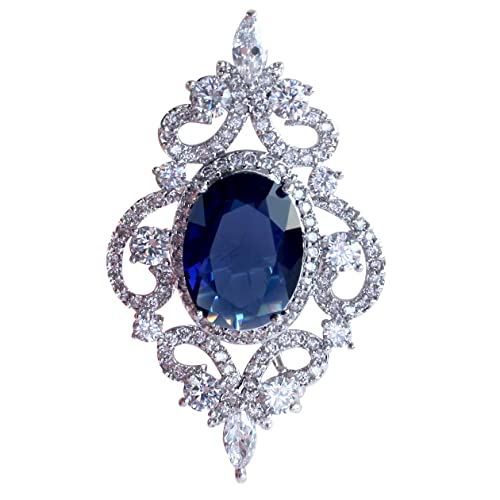 Charming SELOVO Vintage Style Womenu0027s Blue Oval Sapphire Color CZ Crystal Wedding  Bridal Pin Brooch Silver