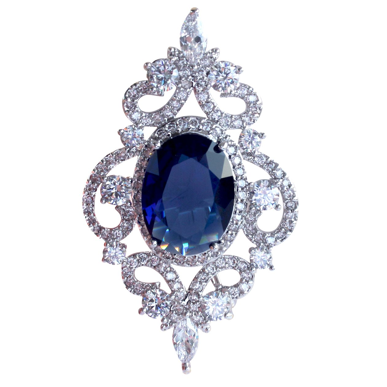 SELOVO Vintage Style Women's Blue Oval Sapphire-color CZ Crystal Wedding Bridal Pin Brooch Silver Tone