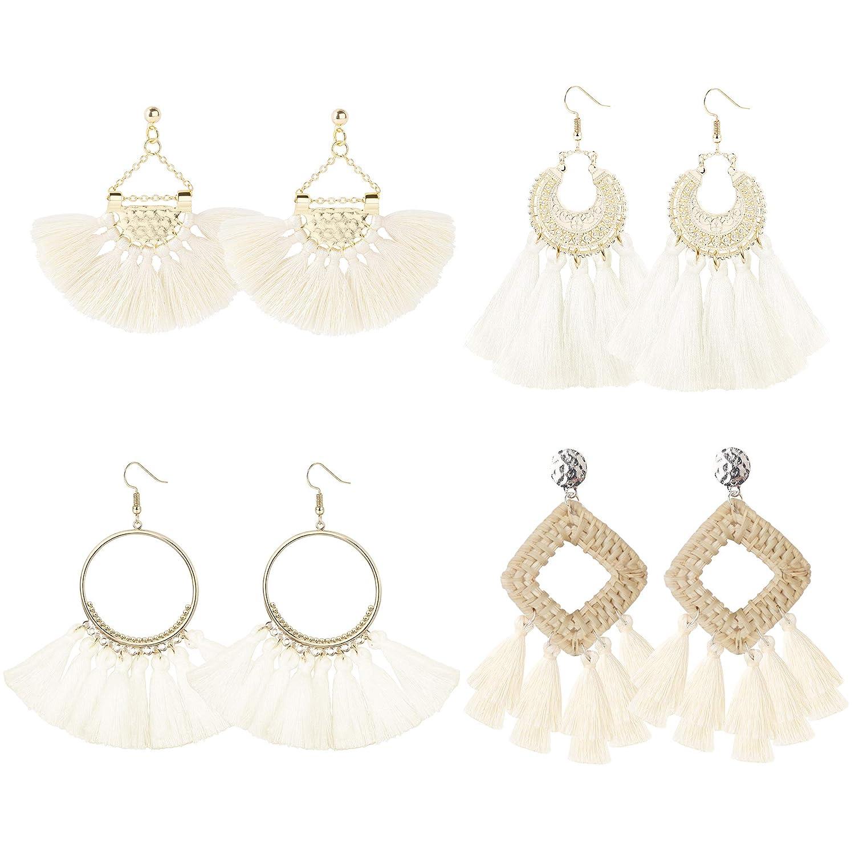 LOYALLOOK 4-6Pairs Tassel Earrings Bohemia Fan Shape Drop Earrings Layered Long Dangle Earrings Tassel Hoop Earrings for Women Girls