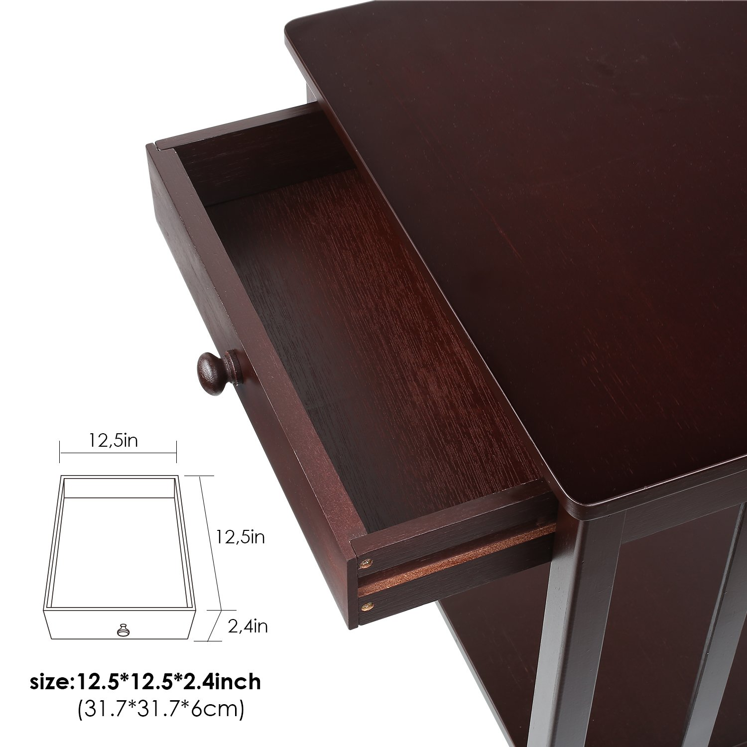 Dark Brown Homfa Bamboo Night Stand End Table with Drawer and Storage Shelf Multipurpose Home Furniture