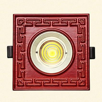 Verlight Luces de techo empotradas LED de madera cuadradas Downlights Luces de radiador de aluminio fundidas