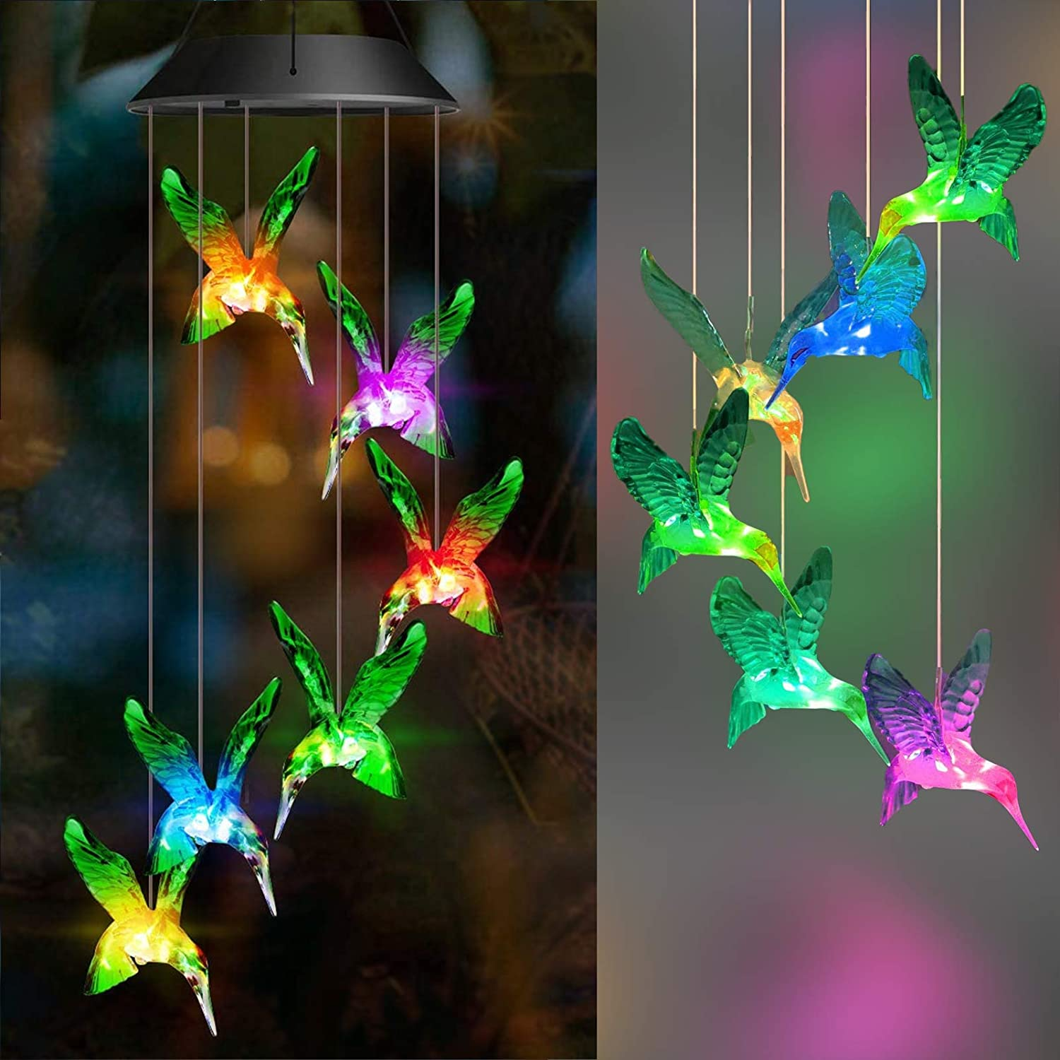 OurLeeme Hummingbird Wind Chimes Led Color Changing Solar Wind Chime Light Wind Chimes Outdoor Solar Light Solar Mobile Wind Chime for Home Party Yard Garden Night Decoration
