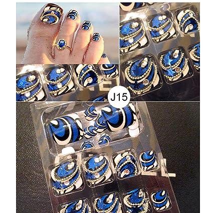 LuckySHD 24Pcs 3D Blue Bling Toenail Art Jewelry Glitter Rhinestone Decor Toe Nail Tips Pre Designed