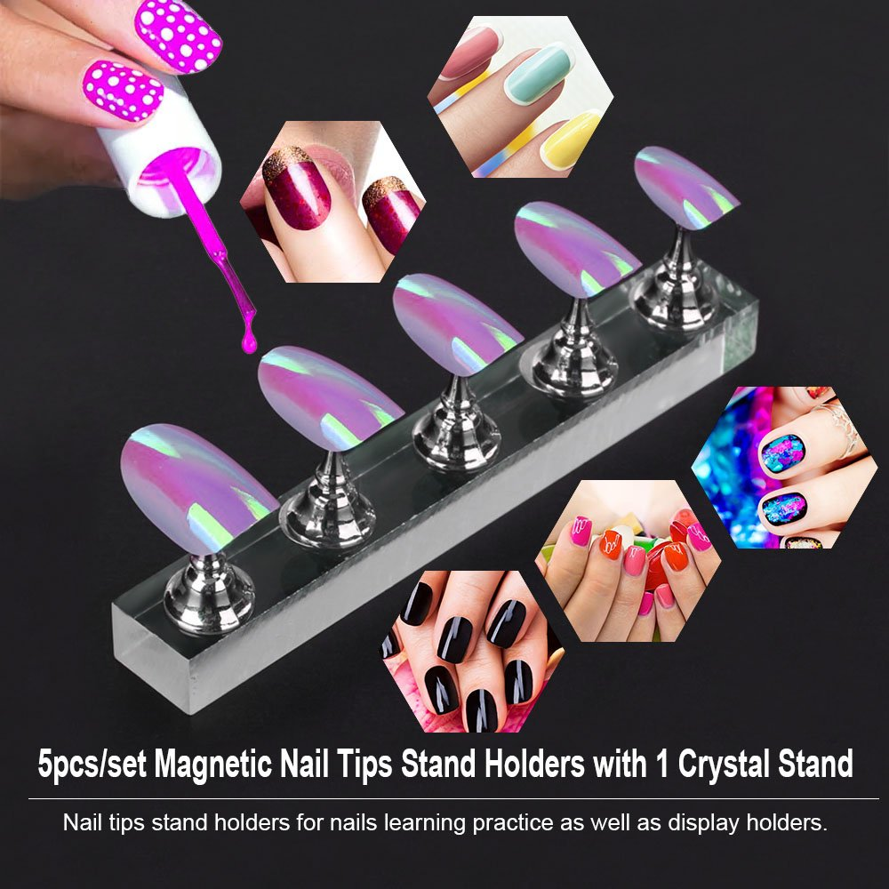 Anself 5pcs/set Magnetic Nail Tips Stand Holders Acrylic Long ...