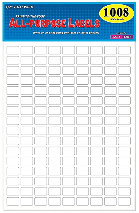 amazon com pack of 1008 1 2 x 3 4 white rectangle labels 8 1 2