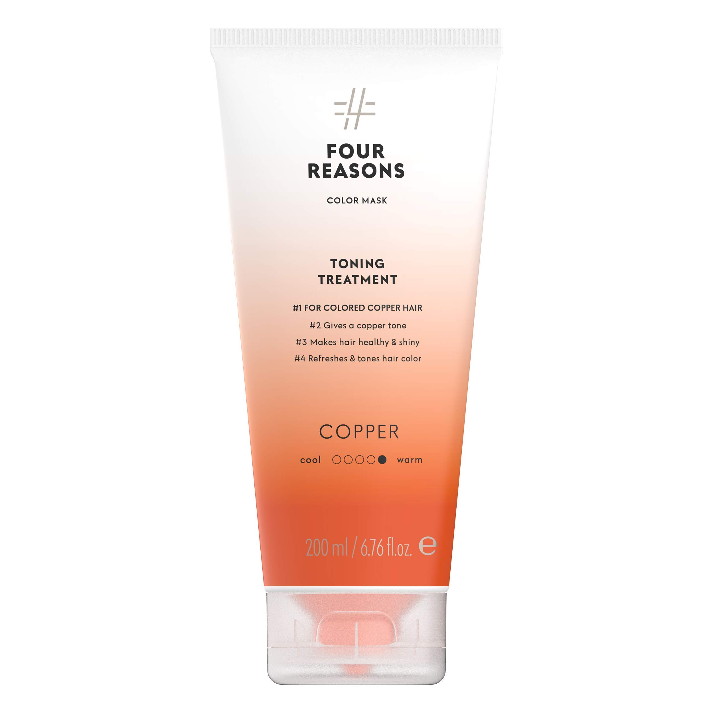 Four Reasons Color Mask - Copper - (19 Colors) Toning Treatment, Color Depositing Conditioner, Tone & Enhance Color-Treated Hair - Semi Permanent Hair Dye, Vegan and Cruelty-Free, 6.76 fl oz