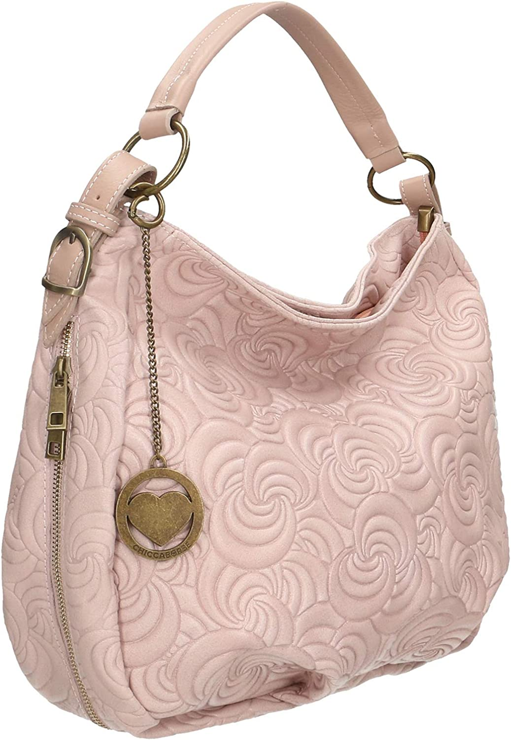 Chicca Borse Bag Borsa a Mano in Pelle Made in Italy 33x33x13 cm Rosa