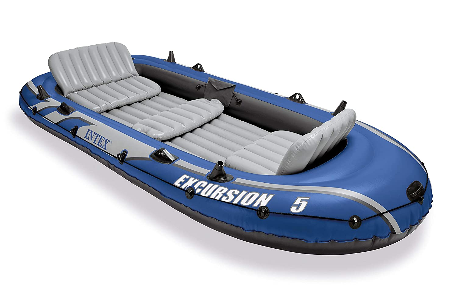 Intex Excursion 5 Person Inflatable Fishing Boat Set with 2 Oars, Air Pump & Bag