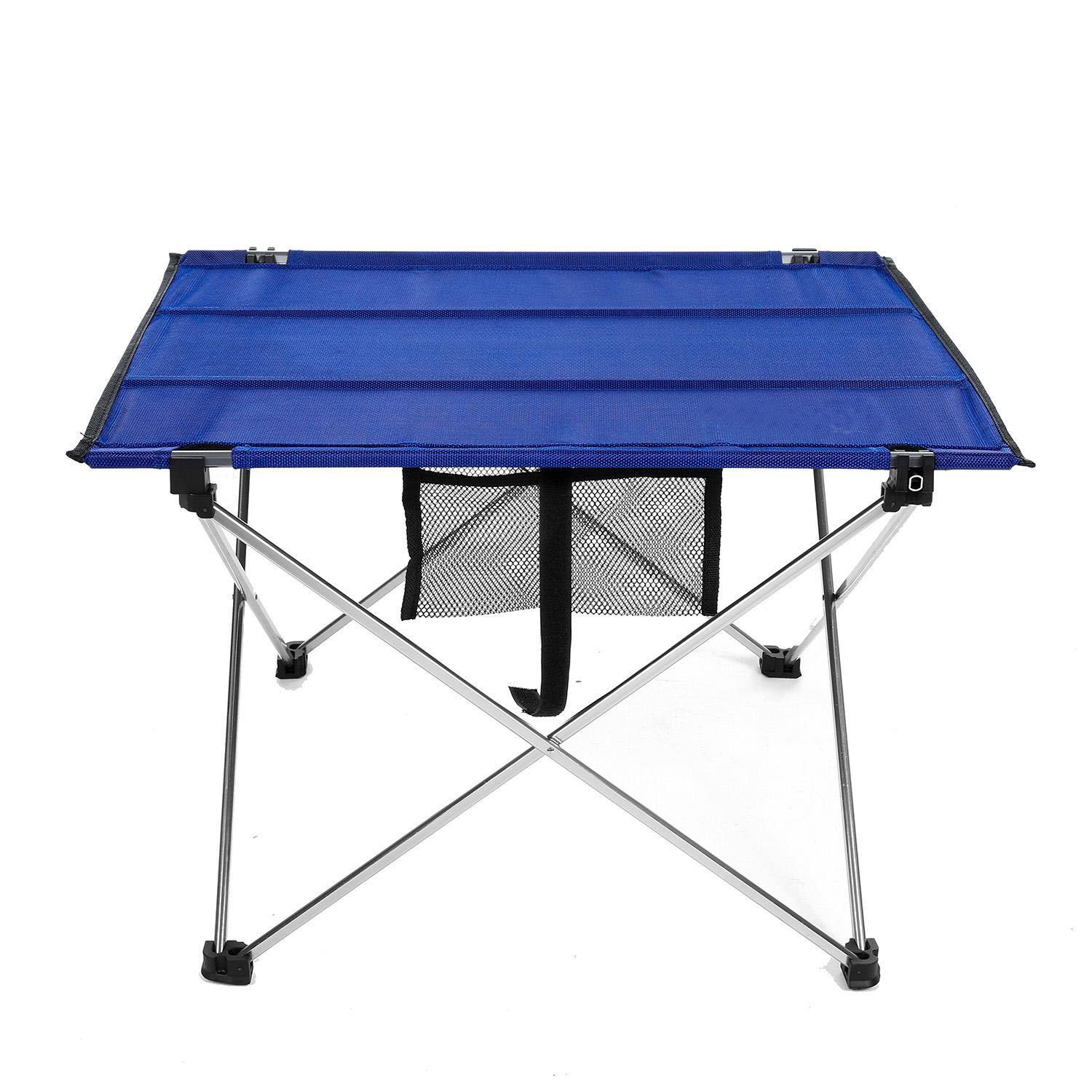 Camping Table, Meflying Camp Table Portable Lightweight Folding Aluminum Table for Outdoor Fishing Travel Hiking Picnic (Blue-22.1 x 16.5 x 14.6inch)