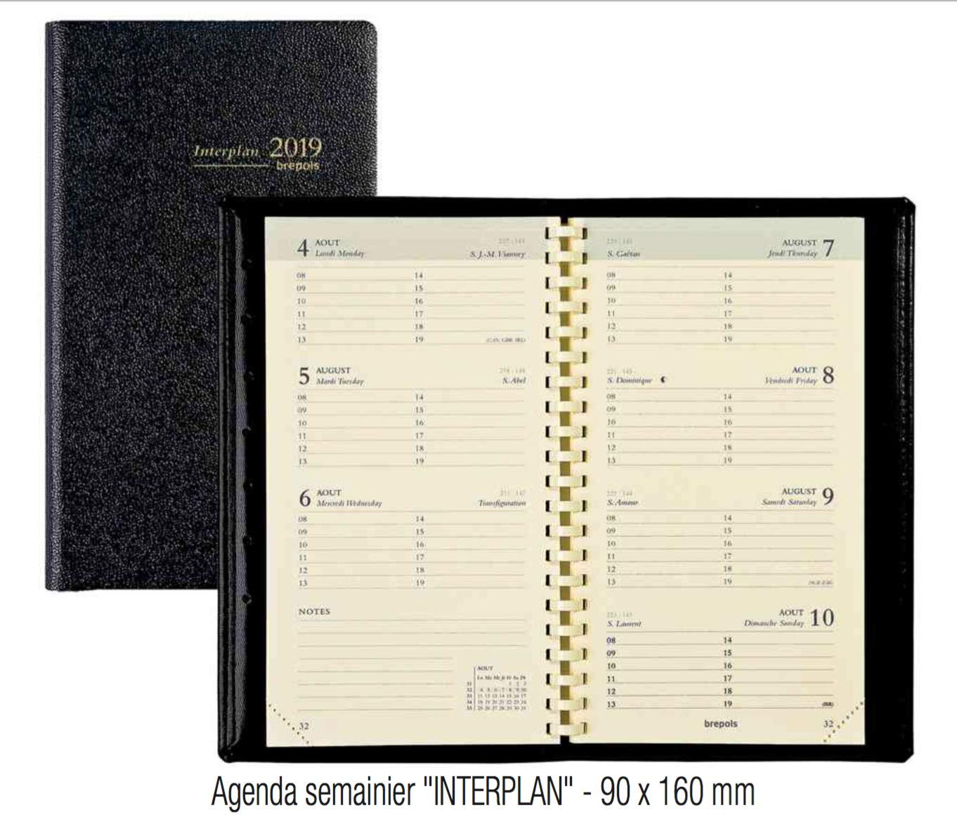 Brepols Agenda semainier INTERPLAN 2019 - Couverture : Noir - Format : 90 x 160 mm BURO-FR
