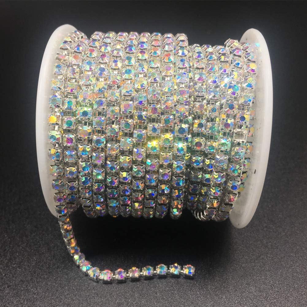 Crystal AB, SS8 2.8MM Sew on Crystal Rhinstone Chain Trim Crystal Rhinestones Close Chain Dowarm 1 Roll 10 Yards Rhinestone Chain Crystal Claw Cup Chain Roll
