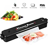 2-in-1 Vacuum Sealer Machine, Automatic Vacuum Air Sealing System for Food Preservation, for Vacuum and Seal /Seal, Led Indicator Lights (Red/Green), Including 20pcs Sealer Bags, Black