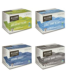 Allegro Coffee Single Serve Coffee Capsules 100% Arabica Coffee (4 Flavor Sampler)