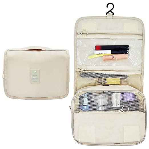 0a7e5fbf08b7 Amazon.com  Portable Hanging Travel Toiletry Bag Waterproof Makeup  Organizer Cosmetic Bag Pouch For Women Girl (Beige)  EPQUEEN