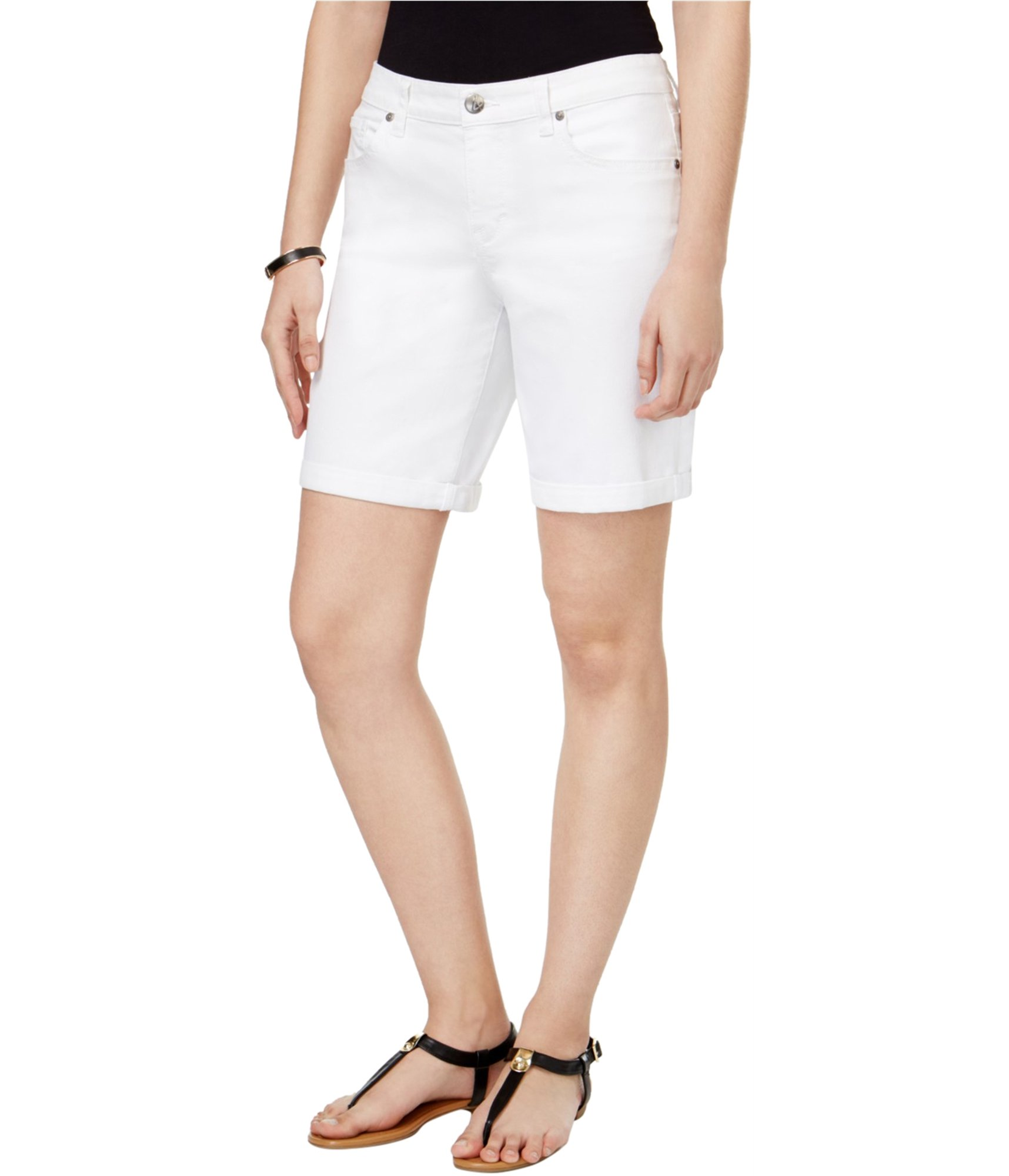 Style & Co.. Womens Plus Cuffed White Wash Denim Shorts White 18