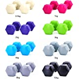 METEOR 0.5-10kg Dumbbells Pair Weights Plates Home Gym Bar Fitness Exercise Workout Training Bar Hand Rack Bench Press Squat Standard Fit Body PVC