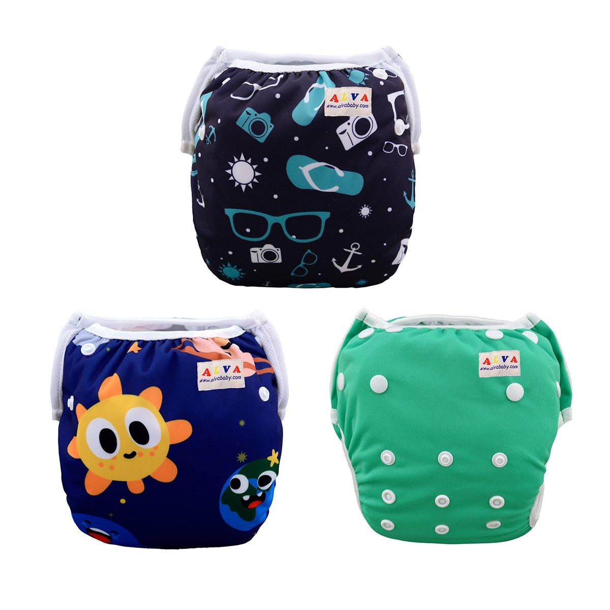 ALVABABY Baby Swim Underwear, Reuseable Washable Adjustable Swim Diapers, Baby Boy Swim Diaper 0-2 Years 3SWB01 3SWB01-625