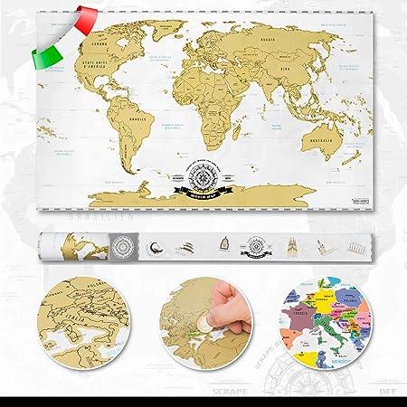 Scrape off World Map – Mapa del mundo para rascar – versión italiana: Amazon.es: Juguetes y juegos