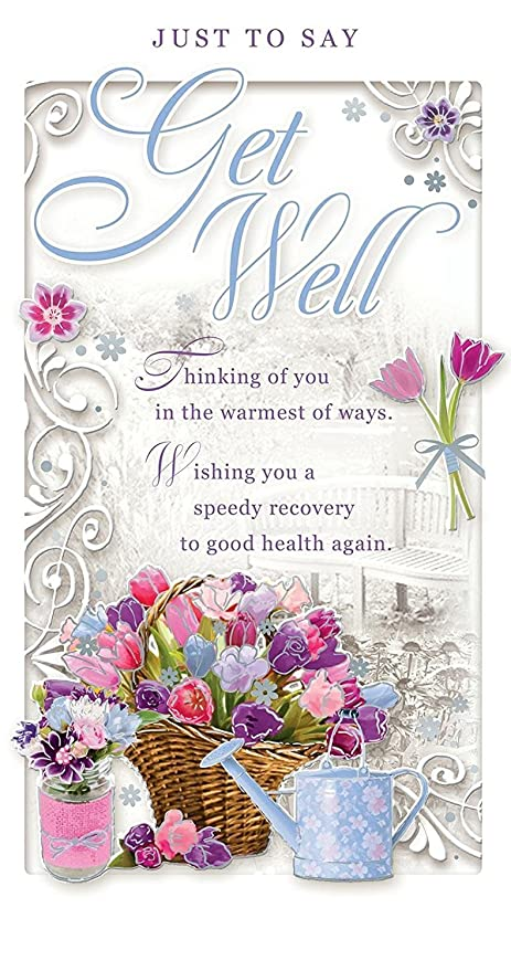 Get well soon greetings card flower bouquet basket watering can get well soon greetings card flower bouquet basket watering can 9quot m4hsunfo