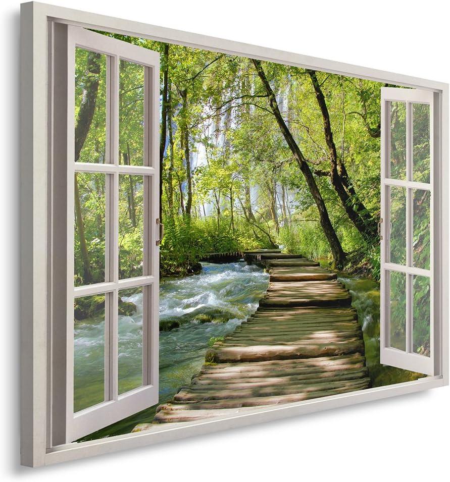 Feeby. Cuadro en Lienzo - 1 Parte - 80x120 cm, Imagen impresión Pintura decoración Cuadros de una Pieza, Pasarela DE Madera, Bosque, Naturaleza, Verde